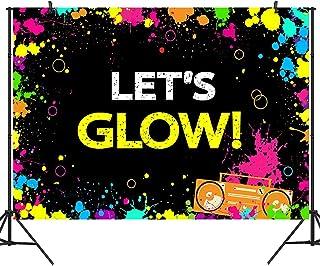 DULUDA 2,1 x 1,5 m leuchtender Neon Party Fotohintergrund 'Let's Glow Splatter' Fotokabinenzubehör BD20