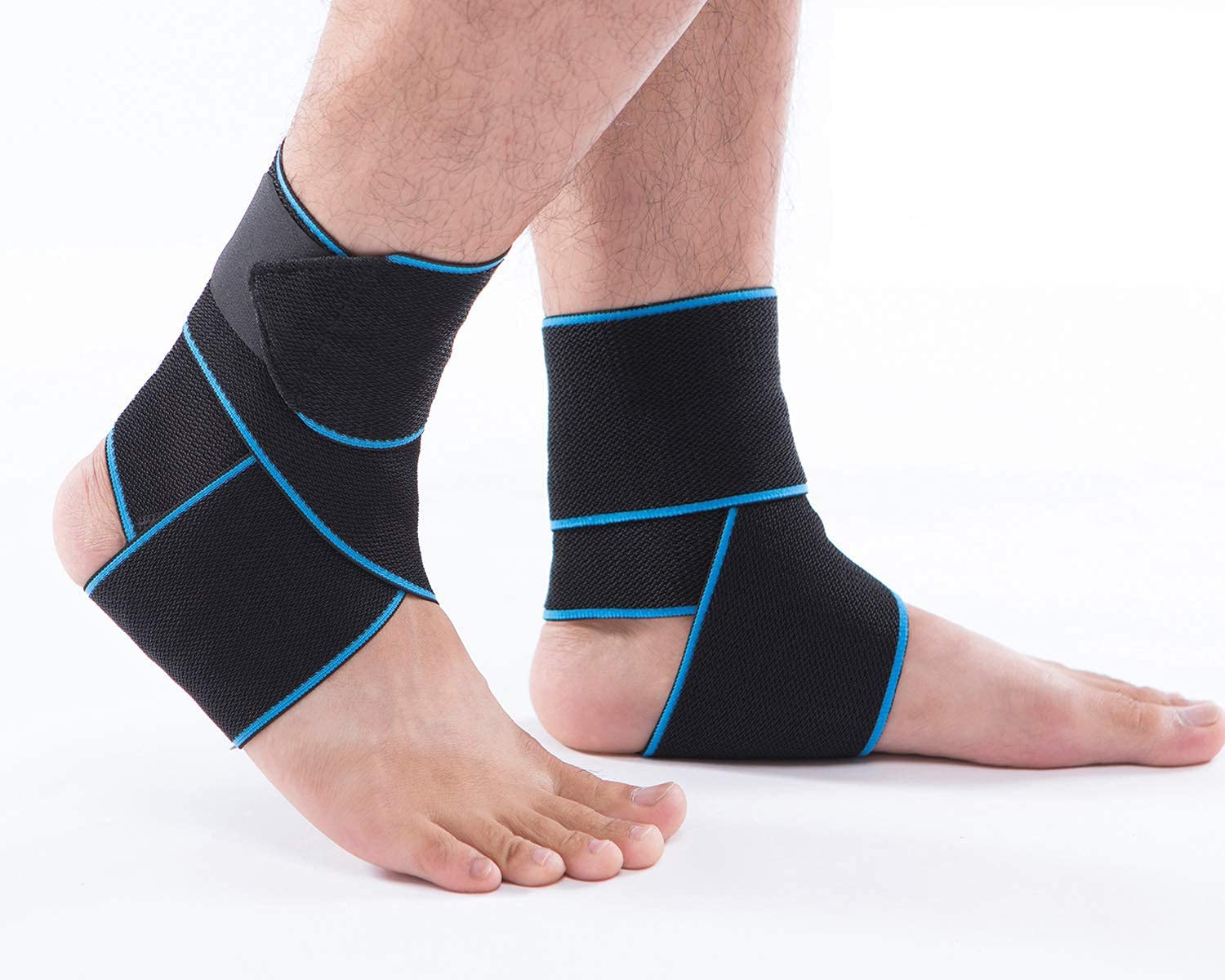 Ankle Brace Breathable Ankle Support Adjustable Ankle Stabilizer with Compression Wrap Support, Suitable for Men & Women, Sports (2 Pack)-One Size Fits All (Blue) : Sports & Outdoors
