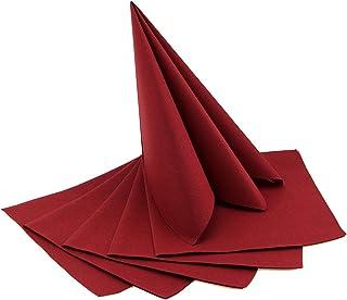 Deko Angels Lot de 24 serviettes Bordeaux à plier - 40 x 40 cm - Pliées en 4 - Décoration de table - Baptême - Décoration ...