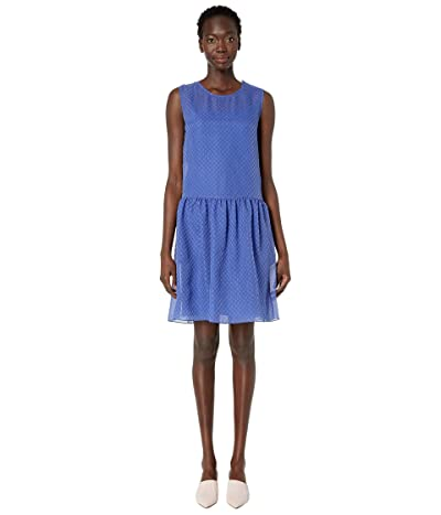 Boutique Moschino Sleeveless Fit Flare Allover Crosshatch Dress (Blue) Women