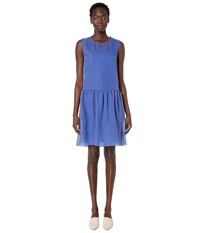 Boutique Moschino Sleeveless Fit Flare Allover Crosshatch Dress (Blue) Women