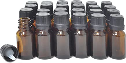ljdeals 10ml Amber Essential Oil Bottle with Euro Dropper Black Cap Glass Bottles Pack of 24
