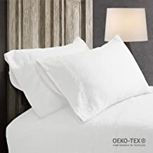 Simple&Opulence 100% Linen Pillowcase with Hand Drawing Hemstitch Pillow Cover Set of 2(White, Standard)