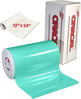 ORACAL Gloss Mint Adhesive Craft Vinyl for Cameo, Cricut & Silhouette Including Free Roll of Clear Transfer Paper (6ft x 12