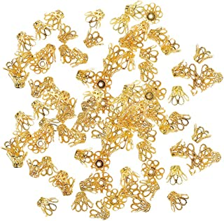 B Baosity - Capelli di Perle di Fiore, in Metallo, per bricolage, placcati Oro, 100 Pezzi