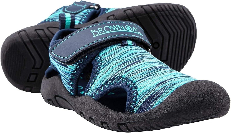 Brown Oak Kids Water Shoes Quick Dry Anti Slip Closed Toe Aqua Swim Sport Sandals (Toddlers/Little Kids)