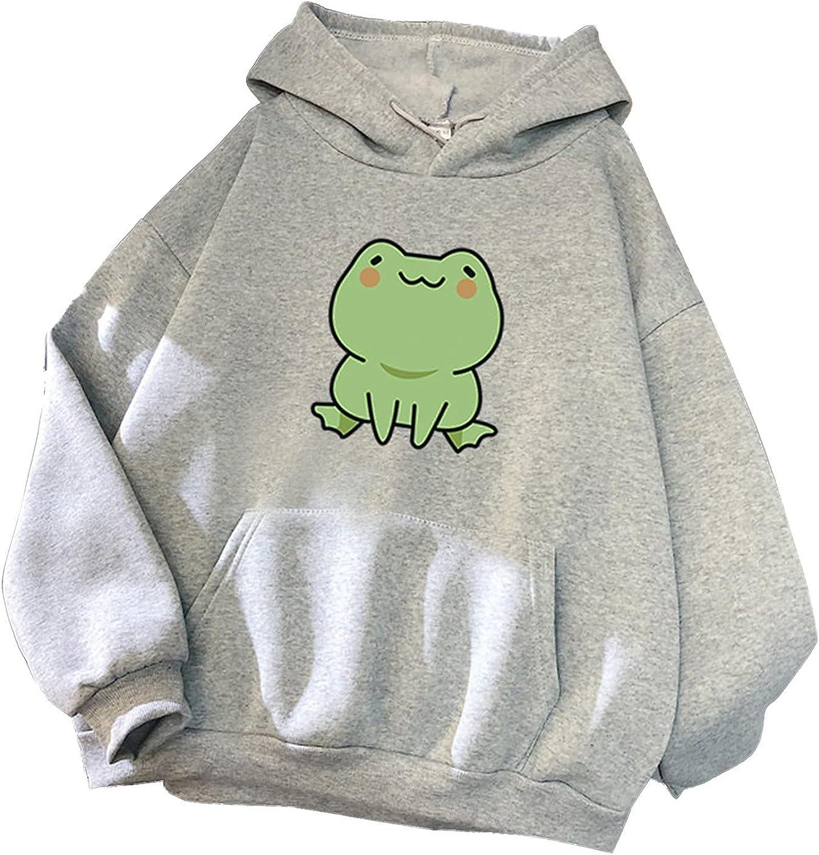 Eduavar Sweatshirts for Women,Womens Girls Fashion Frog Print Long Sleeve Fleece Hoodies Pullover Sweatshirt Blouse Tops