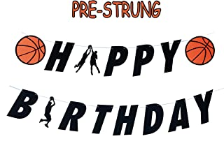 E&L Basketball Theme Happy Birthday Banner, Party Banners, Basketball Themed Birthday Party Decorations, Basketball Birthday Party Supplies, for Birthday Party Decoration, PRE-Strung