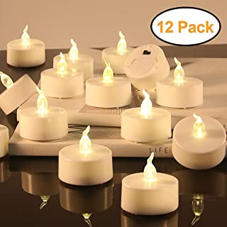 LED Tealight Candles - Flameless Votive Candles - Battery Operated Tea Light Fake Candle - Unscented Realistic Tealight 200 Hours - Warm Yellow Flame - Wedding Party Decorations 12 Packs