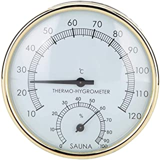 Prenine 2-in-1 Stainless Steel Thermometer Hygrometer for Sauna Steam Room Bathroom Stainless Steel Sauna Thermometer Saun...