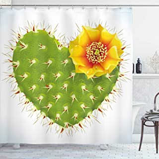 Ambesonne Cactus Shower Curtain, Thorny Cactus in The Shape of Heart and Yellow Flower with Opuntia Spikes, Cloth Fabric Bathroom Decor Set with Hooks, 70