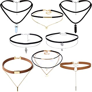 Tpocean 8 PCS Black Brown Double Layers Gold Chain Zircon Charming Choker Necklaces for Teen Girls Women