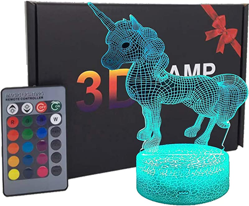 Unicorn 3D Night Light For Kids Remote Control Unicorn For Girls With 16 Colors Smart Touch Remote Control USB Battery Powered Night Lights For Home Decor Christmas Birthday Gifts Unicorn Gifts