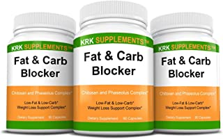 Bundle Combo for 3 Total Bottles of Fat and Carb Blocker with Phaseolus Vulgaris (White Kidney Bean Extract) Chitosan Extr...