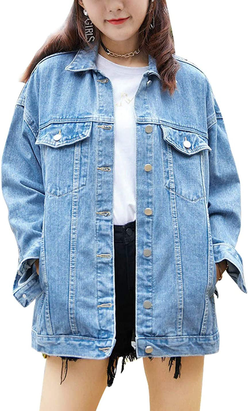 Omoone Women's Oversized Mid Long Denim Jacket Jean Biker Coat