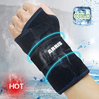 Wrist Ice Pack Wrap - Hand Support Brace with Reusable Gel Pack/Hot Cold Therapy for Pain Relief of Carpal Tunnel, Rheumatoid Arthritis, Tendonitis, Sports Injuries, Swelling, Bruises & Sprains
