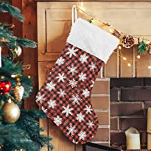 "senya Christmas Stockings Hanging Bags 2PCS, Snowflakes Red Black Plaid 18"" Stocking Holders Gift Treat Bag for Family Hol..."