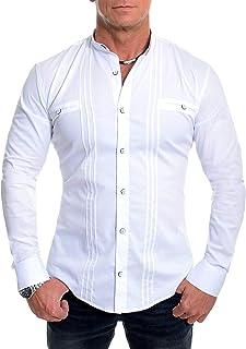 D&R Fashion Men's Grandad Collar Shirt Contrastive Square Buttons Long Sleeve Cotton