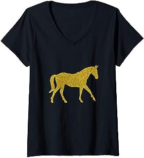 Femme Cheval Zoo Vintage, rétro or symbole animal T-Shirt avec Col en V