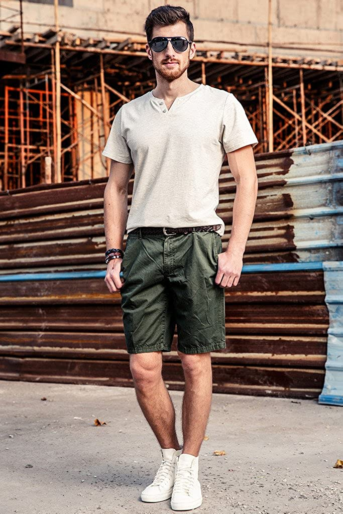 INFLATION Men's Flat Front Shorts Casual Classic Fit Cargo Shorts 100% Cotton Shorts with Pockets