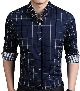 Men's 100% Cotton Long Sleeve Plaid Slim Fit Button Down Dress Shirt