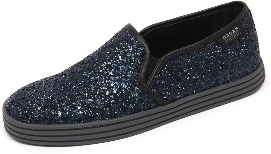Hogan C7994 Sneaker Donna Rebel R141 Scarpa Blu/Nero Glitter Slip ...