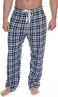 Mens 100% Cotton Pyjama Bed Shorts Long Check Flannel Tie Waist - Sky or Navy Blue - Size: S M L XL