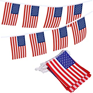 Livder American Flag Pennants Banners, 36 Feet with 40 Pieces USA Flags Banner for 4th of July Independence Day, Patriotic Events, Sports, Bars Decorations