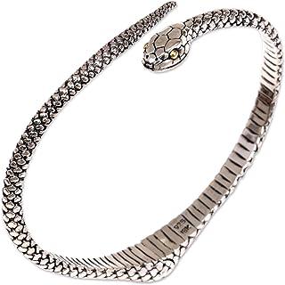 NOVICA .925 Sterling Silver Cuff Bracelet 'Earth Serpent'