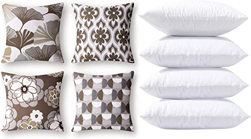Phantoscope Bundles, Set of 4 New Living Series Ginkgo Print Coffee Pillow Covers 18 x 18 inches & Set of 4 Pillow Inserts 18 x 18 inches