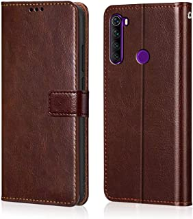 WOW Imagine Redmi Note 8 Flip Case | Premium Leather Finish | Inside TPU with Card Pockets | Wallet Stand | Shock Proof | Magnetic Closure | 360 Degree Complete Protection Flip Cover for Xiaomi Redmi Note 8 - Chesnut Brown