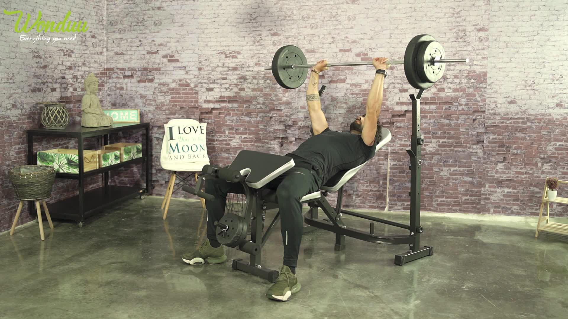 Riscko - Banco de musculación Ajustable multifunción Pesas Fitness