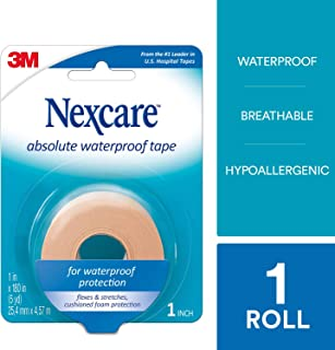 Nexcare Absolute Waterproof First Aid Tape, Breathable, Hypoallergenic, 1-Inch x 5-Yard Roll