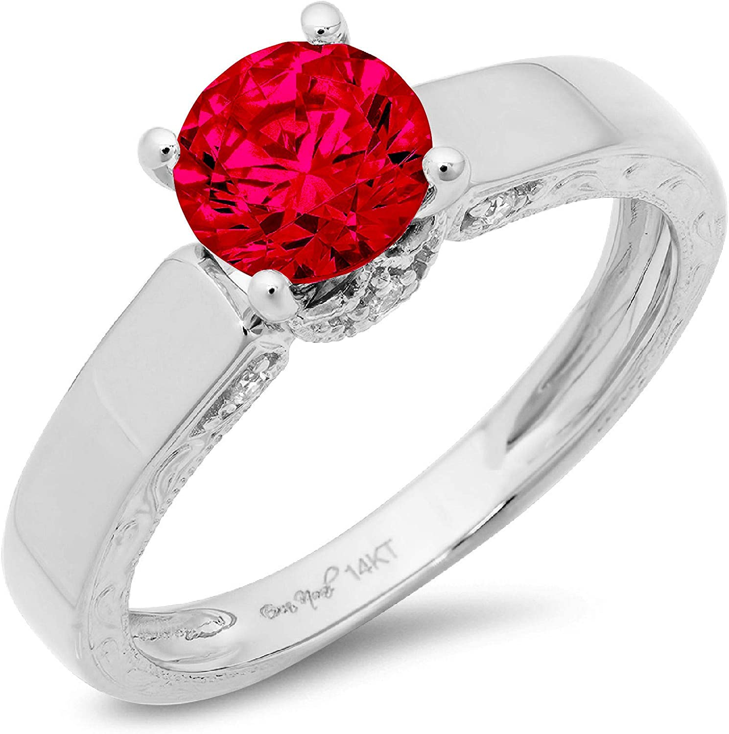 1.70ct Brilliant Round Cut Solitaire Genuine Flawless Simulated Ruby Gemstone Engagement Promise Anniversary Bridal Wedding Accent Ring Solid 18K White Gold