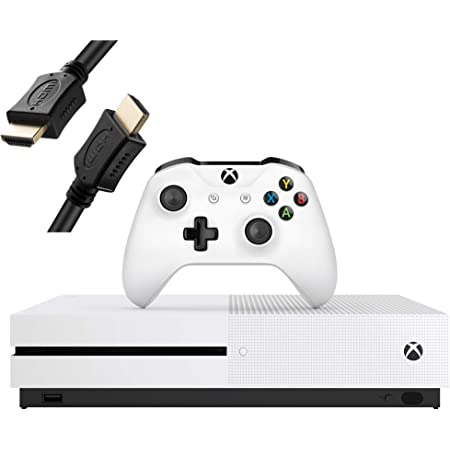Microsoft Xbox One S 1TB Console, White, with 1 Xbox Wireless Controller - 4K Ultra Blu-ray and 4K Video Streaming - Family Home Christmas Holiday Bundle for Gaming - iPuzzle HDMI Cable (Renewed)