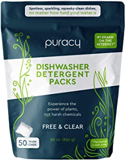 Puracy Platinum Dishwasher Detergent Pods, 50 Count, Natural Enzyme Powder Tablets, Spot & Residue-Free Dish Packs, Free &...