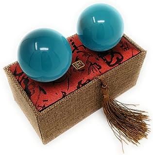 Artificial Tiger Eye Crystal Gemstone Quartz Chinese Health Stress Exercise Baoding Balls (Lake Blue)