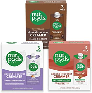 """nutpods """"s'mores"""" bundle: a 3 pack of each Toasted Marshmallow, Classic Chocolate and sweetened Cookie Butter Dairy-Free L..."""