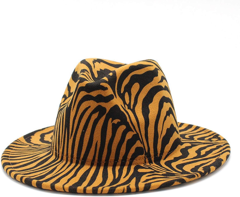 Zebra Printed Wool Felt Fedora Hats for Ladies Gentleman-Style Unisex Panama Hats Classic Trilby Jazz Cap