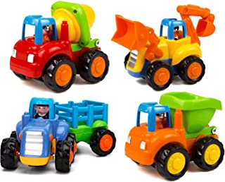 Bo-Toys Pull Back Vehicles, Set of Construction Vehicles Friction Toys, Dump Truck, Mixer, Bulldozer and Tractor Excavator for Toddlers 1,2,3 Years Old Kids