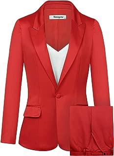 Women's 2 PC Business Casual Shawl Collar Formal Blazer Suit Pants Sets MI35