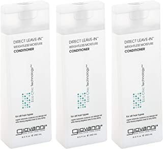 GIOVANNI COSMETICS - Eco Chic Direct Leave-In Conditioner- Weightless Moisture For All Hair Types- 3 Pack (8.5 Ounce Size)