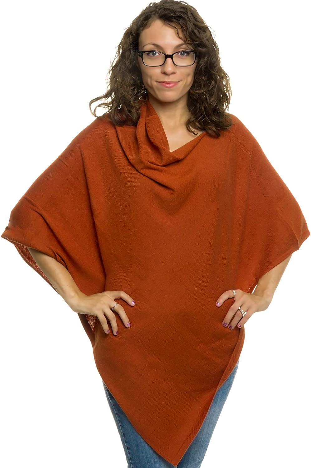 Womens Cashmere Poncho  SilverHooks Plush Cashmere Wrap Sweater (Rust)
