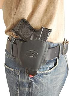 Barsony New Quick Slide Gun OWB Black Leather Holster for Compact 9mm 40 45 Pistols