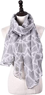 Scarf Balinese Thread Lattice Print Four Seasons Shawl Street Anti-Cold Cooling Countermeasure Sunscreen 5 Colors to Choose for Women` TuanTuan (Color : Gray)