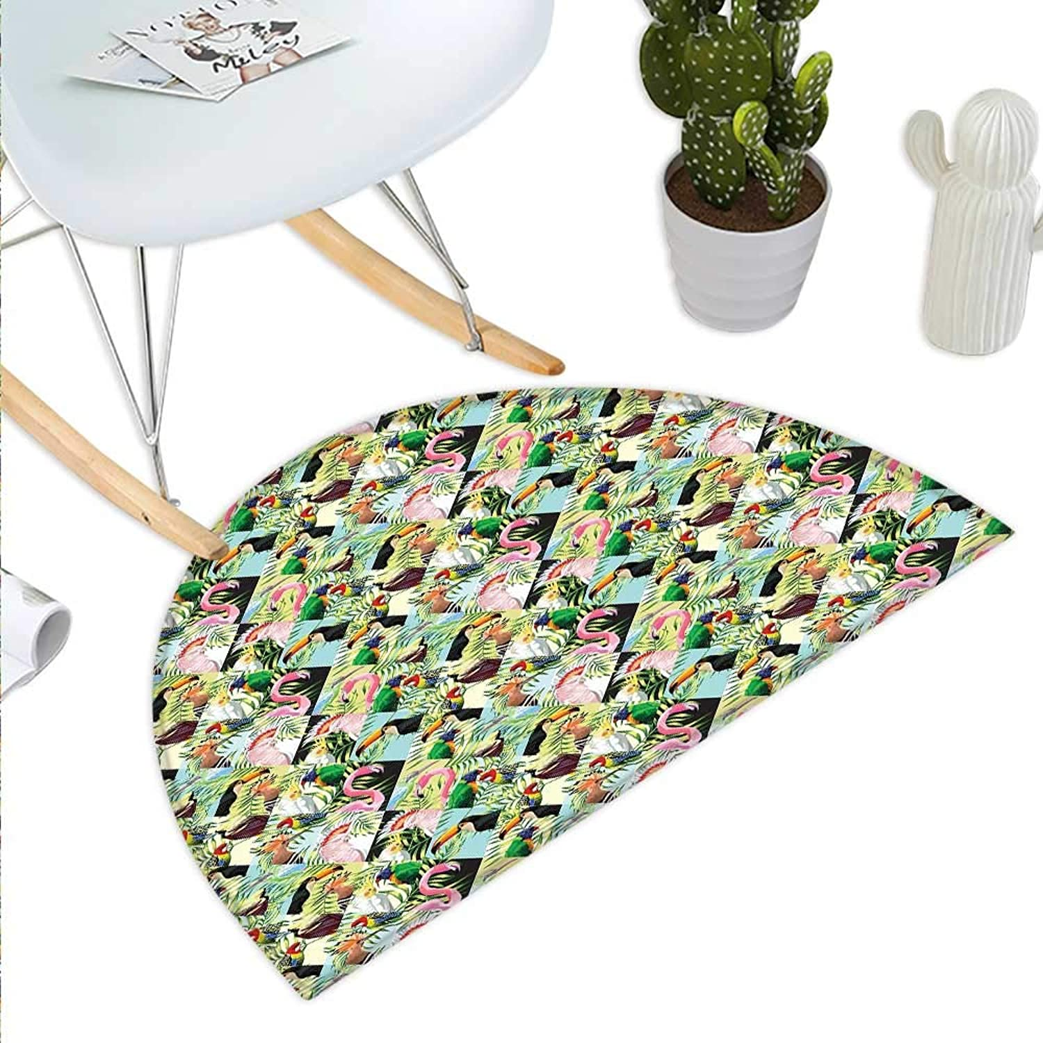 Luau Semicircle Doormat Tropical Climate Wildlife Jungle Inspired Patchwork Style Pattern with Birds Parred Halfmoon doormats H 43.3  xD 64.9  Multicolor