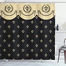 Ambesonne French Shower Curtain by, Pattern of Fleur de Lis Ancient Symbol Illustration Baroque Inspired Print, Fabric Bathroom Decor Set with Hooks, 75 Inches Long, Charcoal Grey Ivory