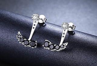 Pendientes tipo botón de Plata y circonitas elegante y moderno
