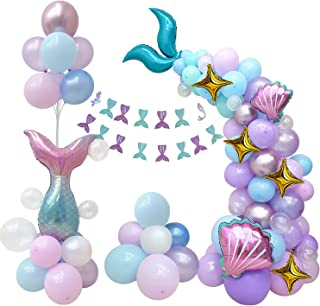 CozofLuv 121Pcs Mermaid Balloon Set| Under The Sea Party Supplies| Ariel Birthday Party Supplies| Mermaid Tail Balloons| M...