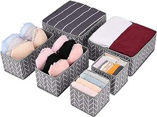 Amazon Brand – Umi Lot de 6 Organiseur de Tiroir pour sous-vètements, Boîte de Rangement Pliables pour Armoire et Tiroir d...